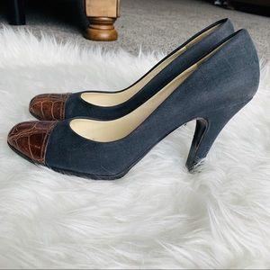 Prada Alligator Toe Leather Heels